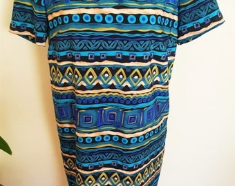 Vintage Tribal Print Short Dress