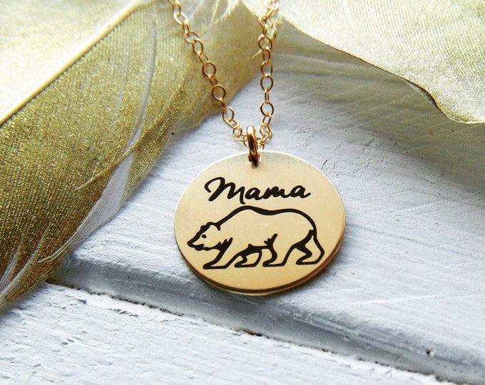 Mama Bear Necklace - Gold or Rose Gold - .630 Disc Necklace - Gift for Mom - Back Customized option - Laser Engraved Graphic - Unique Gift