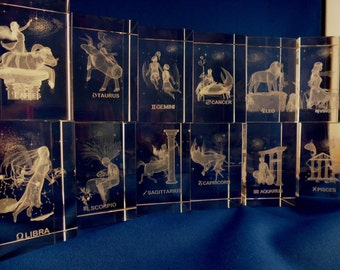 Laser engraved 3D Crystal Star Sign / Zodiac/ Astrology / Paper weight