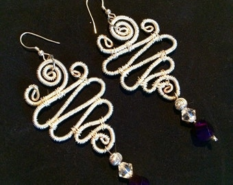 Sterling silver wirewrap dangle earrings w/ purple swarovski crystal beads