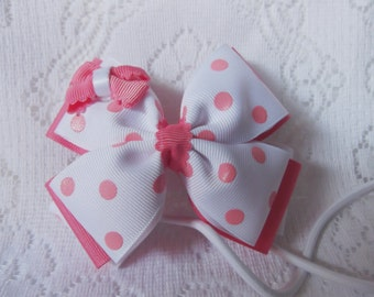 White hair bow, White with dusty pink coral dots stacked bow  (Little Bow Boutique)
