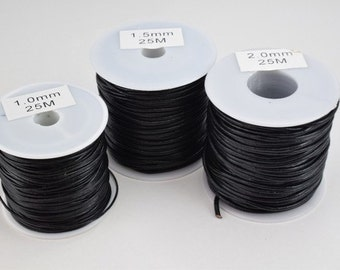 Natural Leather Black Size 1mm, 1.5mm and 2mm Round Cord Thread