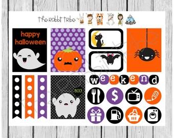 Weekly sticker set - kawaii halloween - planner stickers