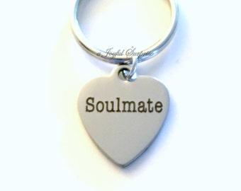 Soulmate Gift Soul Mate Keychain, Boyfriend Key Chain Gift for Husband Wife Anniversary Girlfriend Keyring Fiance Present purse charm Groom