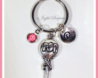 SALE Personalized Lollipop KeyChain, Silver Sucker Key Chain, POP Candy Keyring Gift for Candy Lovers Gifts Jewelry initial birthstone 190
