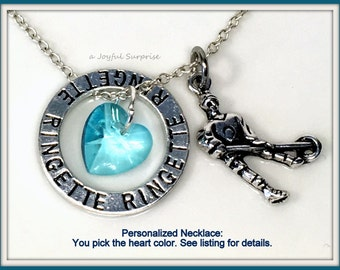 Gift for Ringette Player Necklace, Crystal Heart of your Choice, Teenage Girl Jewellry, Team Color Charm, Silver Circle Charm Teenager Women