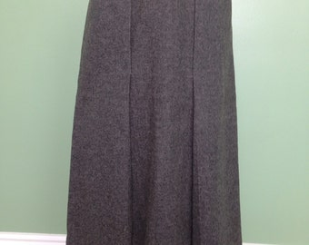 1950's Wool Women's Skirt with Front Kick Pleat in Grey- 50's wool skirt - 50's skirts - vintage skirt
