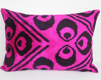 Pink Ikat Pillow Case - 15'' x 22'' Decorative Pillows For Couch Sofa Pillows Pink Lumbar Pillow Decorative Cushion Modern Pillow Cover