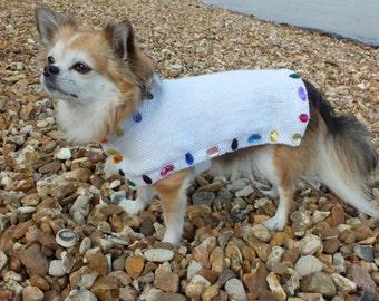 Handmade dog coat in any colour with rhinestone trim