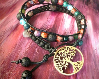 CUSTOM MADE*** Real Leather Double, Triple or Quadruple Wrap Bracelets just for you! Can include Real Gemstones and Hemp Macrame Designs!