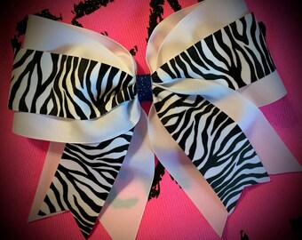 Zebra Hair bow/CHEER Bow