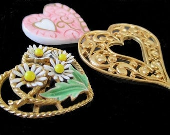 Heart Pins/Brooches * Hearts * Lot Of Three Pins * Classic Vintage Jewelry
