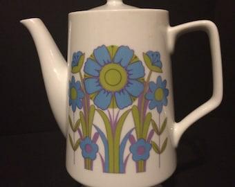 CUTE! Vintage Teapot Blue & Green Flowers