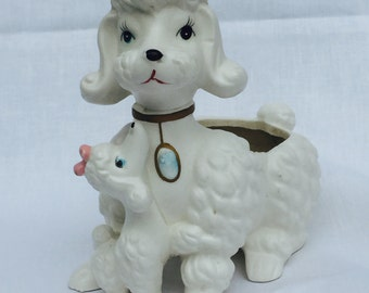 1950's Vintage White Poodle with Pup Planter