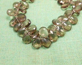 "Smokey Quartz Pear Briolette Facetec Beads Strand 8"" Long,8x11mm - 11x14mm."