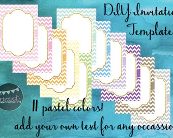 11 DIY blank card templates - personal and commercial use - no license required! (chevrons, pastel colors) - T002