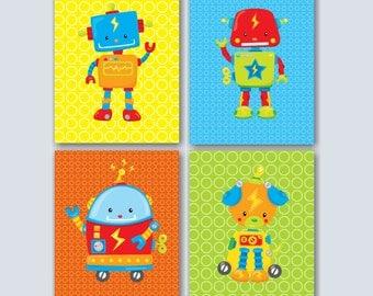 Robots Wall Art,Robots Kids Wall Art,Robots Kids Room,Robots Bathroom,Robots Nursery Wall Art,Robots Playroom Decor-UNFRAMED Set of 4 C251