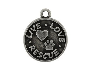 LIVE LOVE RESCUE  Pendant Charm - Burnished Pewter
