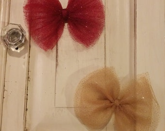 Christmas Tulle Bows on Clip