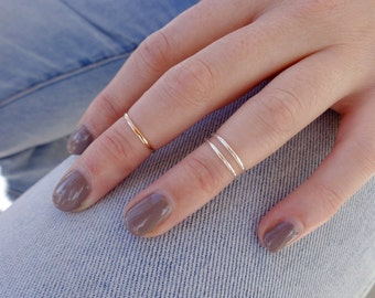 1mm Thin Toe Ring or Midi Ring in Gold Fill or Sterling Silver