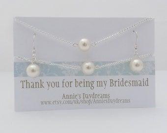 Bridesmaid Pearl Jewellery set - Cream Pearl Bridesmaid Jewellery Set - Bridesmaid Jewellery - Bridesmaid Gift