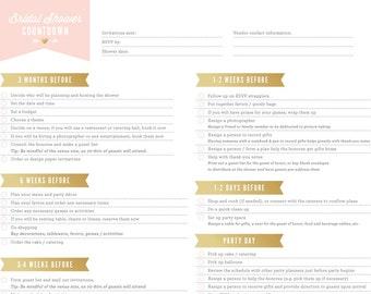 Bridal Shower Countdown  // Bridal Shower Organizer // Instant Download