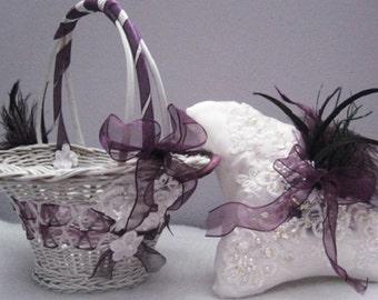 Handmade Purple Flower girl Basket with Ring bearer Pillow