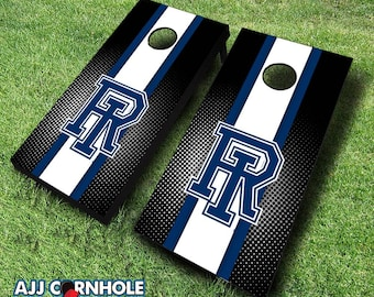 Officially Licensed Univserity of Rhode Island Striped Cornhole Set with Bags - Bean Bag Toss - Rhode Island Cornhole - Corn Toss