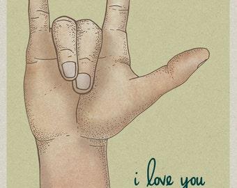 ASL I love you hand 2 card