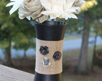 Black Burlap Vase - Midnight Charm