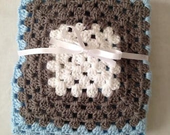 Crocheted Baby Blanket, Handmade Blanket, Crochet Blanket, Blue and Gray Stroller or Carseat, Newborn Bedding, Photography Prop