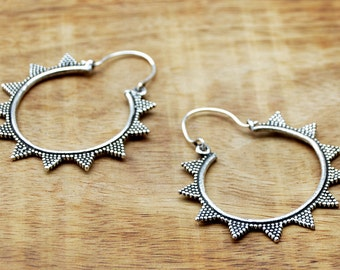 Gypsy Hoop Earrings, Silver Hoop Earrings, Tribal Earrings, Boho Earrings, Ethnic Earrings, Indian Earrings, Silver Hoops, Gypsy Jewelry