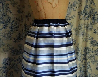 Ocean blues stripes midi skirt