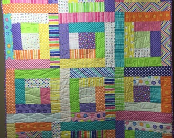 Baby Boy or Girl Quilt in Bright Colors