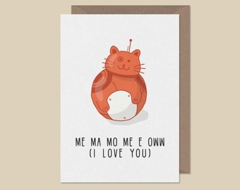 I Love You Card - me ma mo me o www - valentines card - couples card - hand illustrated card - Cute valentines card - cat card - cult card