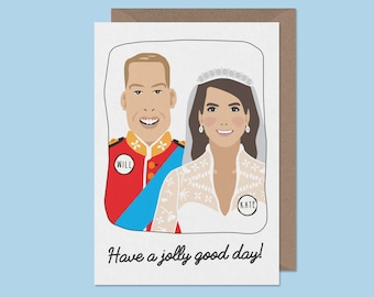 wedding card - Prince William and Kate Middleton - will and kate - royal wedding - congratulations card -Royal wedding anniversary card
