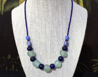 Blue Beaded Necklace.