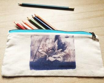 "Pencil Case / Pouch ""Surviving"" Navy Ink, Aqua Zip"