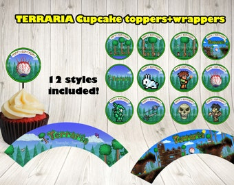 TERRARIA CUPCAKE toppers and wrappers. Terraria party label.Terraria printable.Terraria birthday .Terraria topper.Terraria decoration.