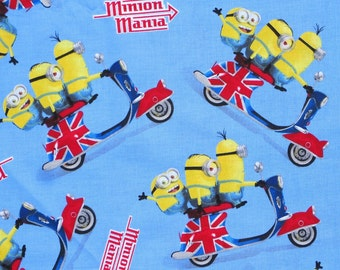Fat Quarter  MINIONS  Union Jack Flag  scooter fabric FABRIC Blue Background