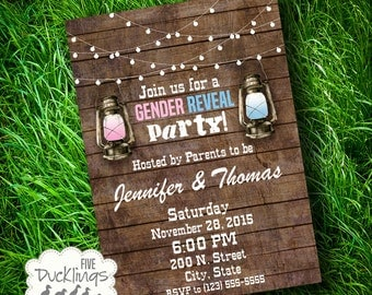 Gender Reveal Invitation, Rustic Gender Reveal Invite, Printable Digital Invitation, A188