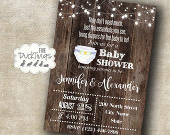 Diaper party invitation, couples shower invite, diaper baby shower, Printable Digital Invitation, A344