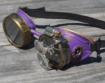 STEAMPUNK GOGGLES Mad Scientist Optic-Conductors Pirate Airship Captain Cyber Rave