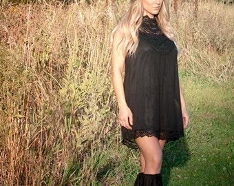 Crochet Chiffon Babydoll Dress
