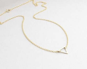 gold filled tiny triangle necklace, minimal, delicate necklace, little triangle necklace, wedding gift