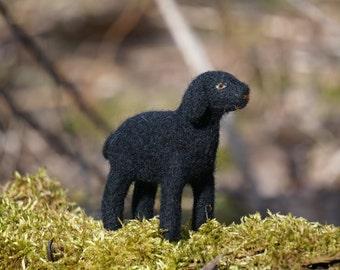 needle felted black lamb, needle felted sheep, needle felted animal, needle felted lamb, black lamb, wool felt, needle felting, cute sheep