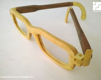 Wooden eyeglasses (frames) + box