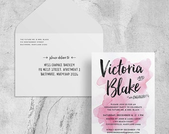 watercolor engagement party invitations // watercolor engagement party invites // pink watercolor invites // PRINTED watercolor invites