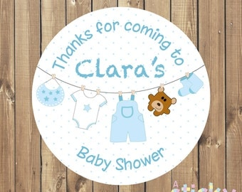 Printable Personalized Baby Shower Stickers / Labels - Blue Design