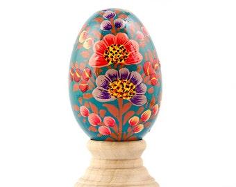 Azaleas Wooden Hand Painted Floral Easter Egg- SKU # wp-77